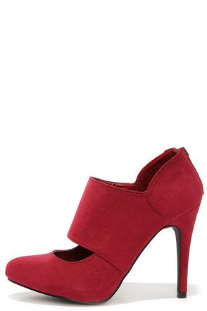 Jitterbug Burgundy Suede High Heel Shooties at Lulus.com!