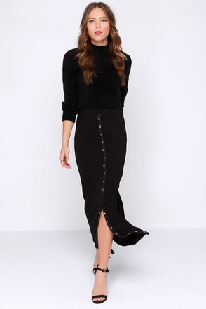 Lucy Love Snapfront Black Maxi Skirt at Lulus.com!