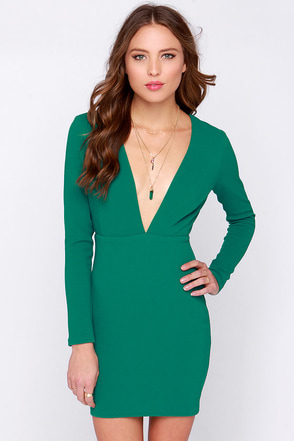 Rubber Ducky Ever So Lucky Green Long Sleeve Dress at Lulus.com!