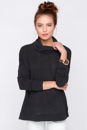 For Sienna Common Grounds Dark Grey Sweater at Lulus.com!