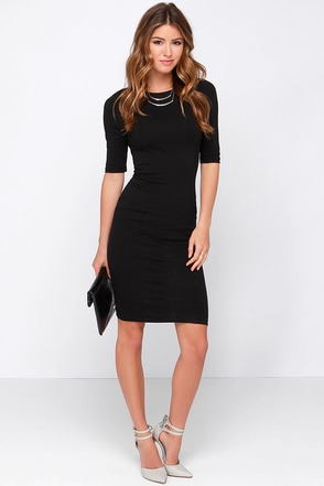 Party of My Own Black Bodycon Dress at Lulus.com!