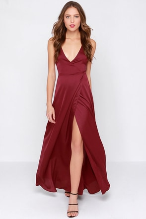 LULUS Exclusive Long Answer Wine Red Wrap Maxi Dress at Lulus.com!