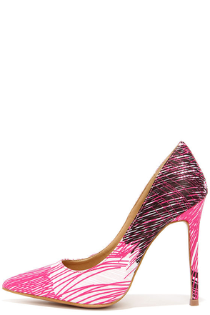 Marks the Hot Fuchsia Print Pointed Pumps at Lulus.com!