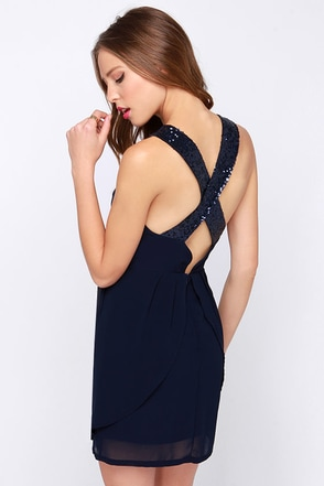 On the Move Navy Blue Sequin Dress at Lulus.com!