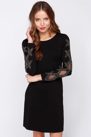 I. Madeline Secret Window Black Beaded Dress at Lulus.com!