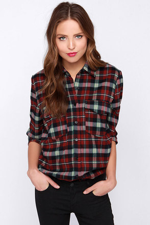 Glamorous Blank Check Red Plaid Long Sleeve Top at Lulus.com!