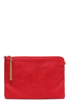 Feel Like Flying Red Vegan Leather Clutch at Lulus.com!