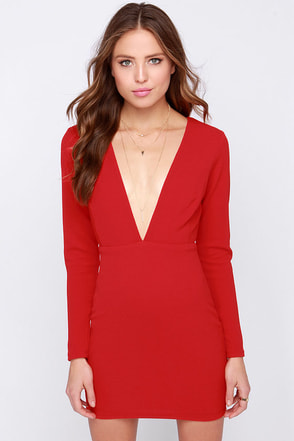 Ever So Lucky Red Long Sleeve Dress at Lulus.com!