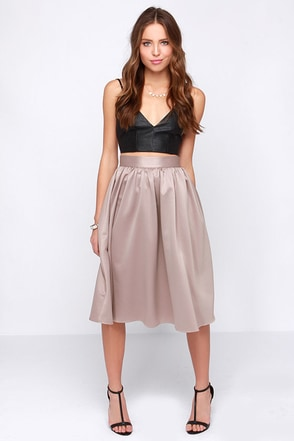 Fabulous Life Taupe Midi Skirt at Lulus.com!