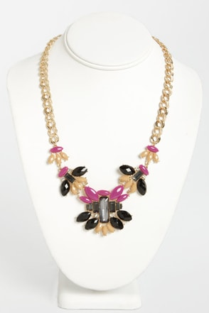 Metropolis Black and Magenta Necklace