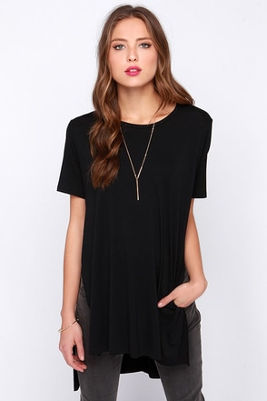 LULUS Exclusive Slit Me Up Black High-Low Top at Lulus.com!