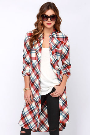 Back Road Rust Red Plaid Maxi Top at Lulus.com!