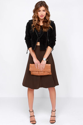 Jump in the Line Black and Brown Striped Midi Skirt at Lulus.com!