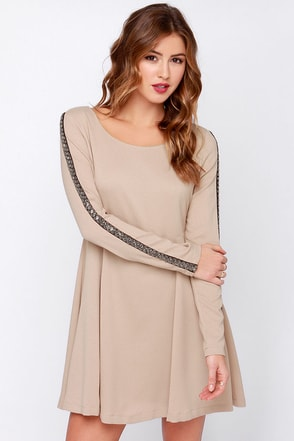Hello There Beige Long Sleeve Beaded Dress at Lulus.com!