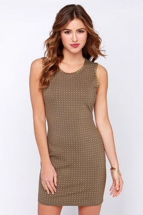 Dot Your I's Studded Brown Bodycon Dress at Lulus.com!
