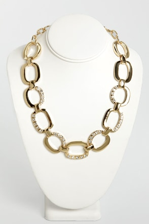 Encrust in Me Gold Rhinestone Necklace