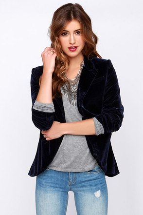Hopeless Romantic Navy Blue Velvet Blazer at Lulus.com!