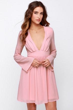 I Want It Now Blush Pink Long Sleeve Dress at Lulus.com!