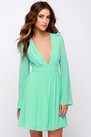 I Want It Now Mint Green Long Sleeve Dress at Lulus.com!