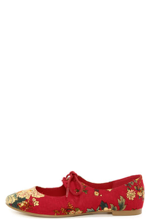 Restricted Sahara Red Floral Lace-Up Flats