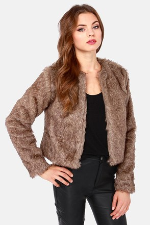 Fur Capita Cropped Taupe Faux Fur Jacket