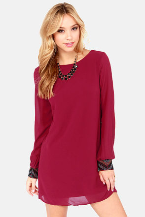 Bead Reputation Wine Red Shift Dress at Lulus.com!