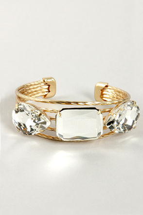 Triplet It be Known Gold Rhinestone Bracelet