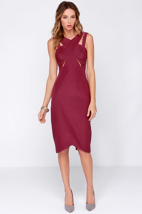Style Stalker Rhythm Burgundy Midi Dress at Lulus.com!