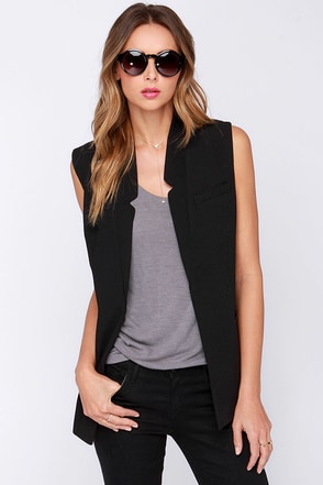 Only the Vest Intentions Black Vest at Lulus.com!