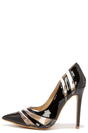 See and Be Seen Black and Lucite Pumps at Lulus.com!