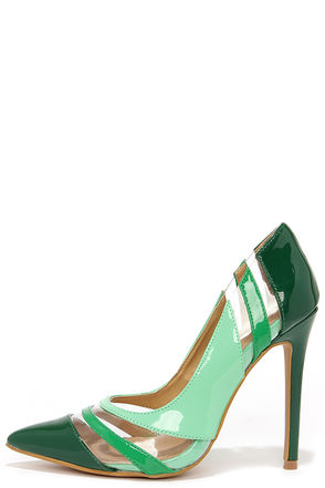 See and Be Seen Green and Lucite Pumps at Lulus.com!