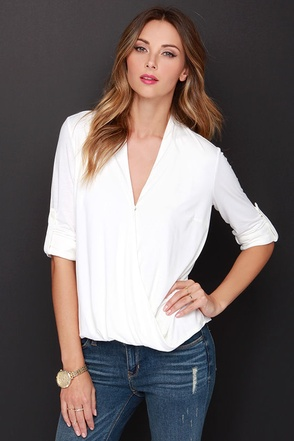 Front Desk Antics Long Sleeve Ivory Top at Lulus.com!