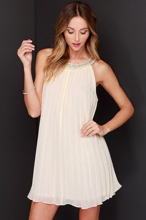 Diamonds and Pearls Cream Beaded Dress at Lulus.com!