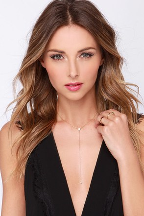 Drop on By Gold Rhinestone Necklace at Lulus.com!