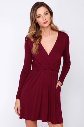 Alakazam Burgundy Long Sleeve Dress at Lulus.com!