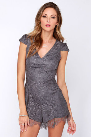 Playsuit Yourself Grey Lace Romper at Lulus.com!