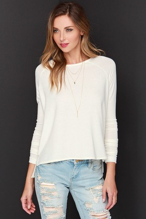 In Good Faith Ivory Long Sleeve Top at Lulus.com!