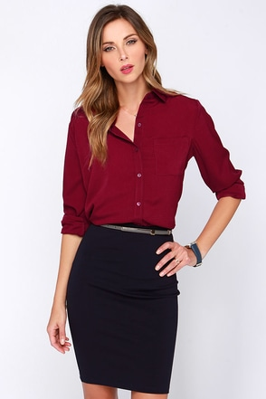 Glamorous Business Dynamics Burgundy Long Sleeve Top at Lulus.com!