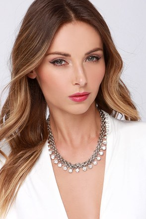 Morning Frost Silver Rhinestone Necklace at Lulus.com!