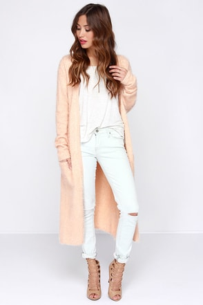 Living For Leisure Peach Cardigan Sweater at Lulus.com!