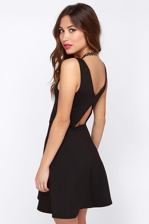 From Here to Flare Black Skater Dress at Lulus.com!