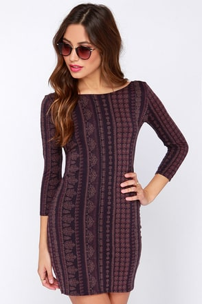 O'Neill Nika Long Sleeve Purple Print Dress at Lulus.com!