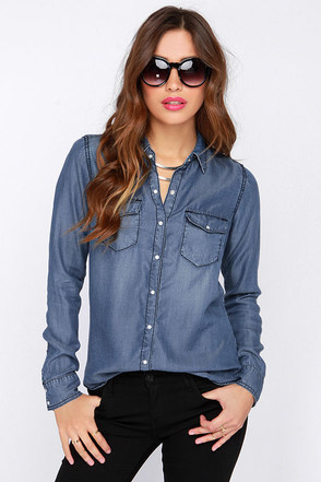 Western Formal Blue Button-Up Top at Lulus.com!