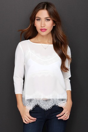 BB Dakota Samuela Ivory Lace Top at Lulus.com!