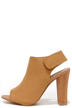 Woodn't Ya Know Natural Peep Toe Booties at Lulus.com!