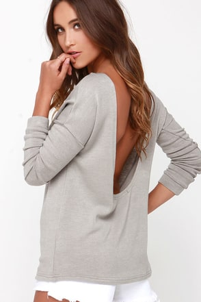 LULUS Exclusive Won't Back Down Grey Long Sleeve Sweater Top at Lulus.com!