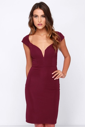 LULUS Exclusive Happy to Be Here Burgundy Bodycon Dress at Lulus.com!