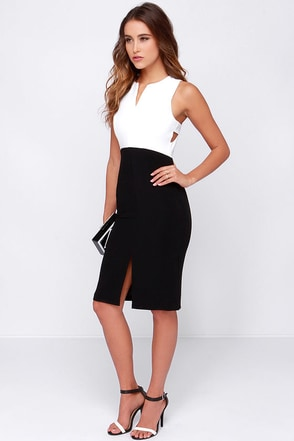 Make It a Double Ivory and Black Midi Dress at Lulus.com!