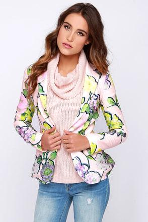 Miami Vice Versa Peach Floral Print Blazer at Lulus.com!