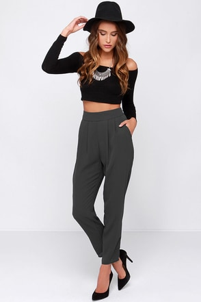 Dee Elle All About the Chic High-Waisted Grey Pants at Lulus.com!